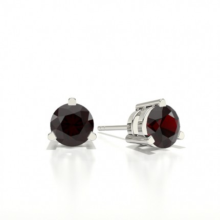 Round Stud Ruby Earring
