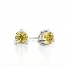Round Yellow Diamond Earrings