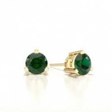 Round Yellow Gold Gemstone Earrings