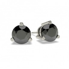 Round Silver Black Diamond Earrings
