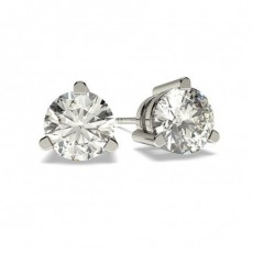 3 Prong Setting Diamond Earrings
