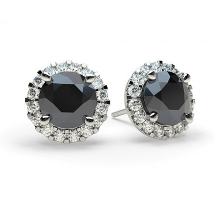 Online White Gold Round Black Diamond Earrings Uk Diamonds Factory