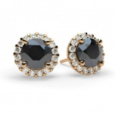 Round Rose Gold Black Diamond Earrings
