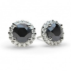 White Gold Round Black Diamond Earring