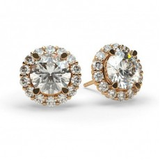 Round Rose Gold Halo Diamond Earrings