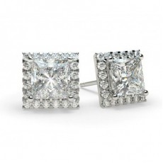 White Gold Princess Diamond Halo Earrings