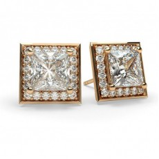 Princess Rose Gold Halo Diamond Earrings