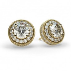Yellow Gold Halo Earring
