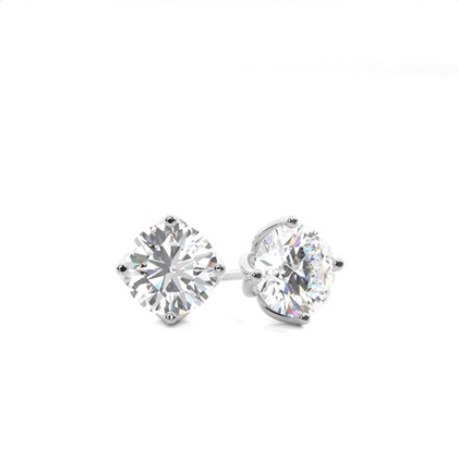 White Gold Round Diamond Stud Earrings
