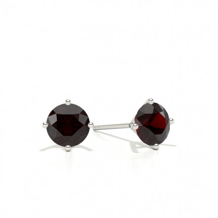 4 Prong Round Ruby Stud Earring