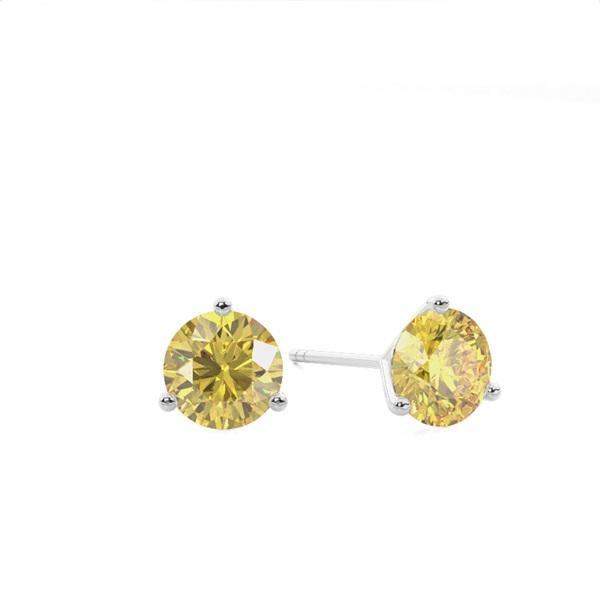 3 Prong Yellow Diamond Stud Earring