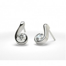 Round Platinum Stud Earrings