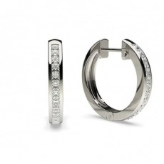 White Gold Princess Diamond Hoop Earrings