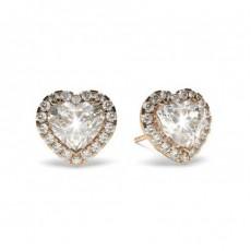 Heart Rose Gold Halo Earrings