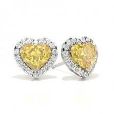 Heart Platinum Halo Earrings
