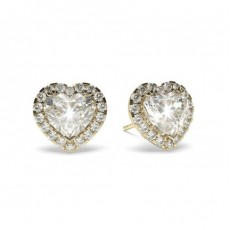 Heart Yellow Gold Halo Diamond Earrings