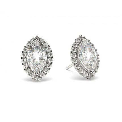 White Gold Marquise Diamond Halo Earring