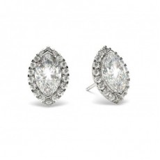 White Gold Marquise Diamond Halo Earring