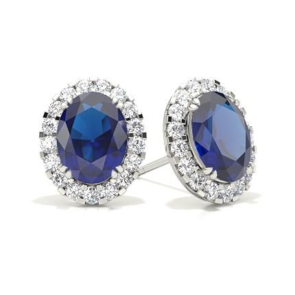 4 Prong Setting Halo Blue Sapphire Earring