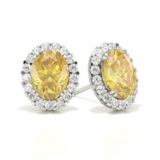 Oval Yellow Diamond Earrings