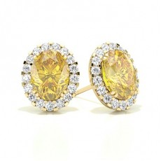 Oval Yellow Gold Yellow Diamond Earrings