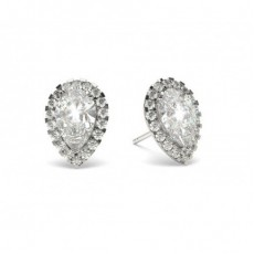 3 Prong Setting Halo Earrings