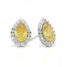Pear White Gold Yellow Diamond Earrings