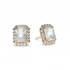 Radiant Rose Gold Halo Diamond Earrings