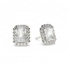 4 Prong Setting Halo Earrings