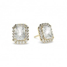 Radiant Yellow Gold Halo Diamond Earrings