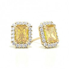 Radiant Yellow Gold Halo Earring