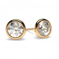 Round Rose Gold Stud Diamond Earrings