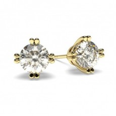Round Yellow Gold Stud Diamond Earrings