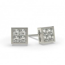 White Gold Princess Diamond Cluster Earrings