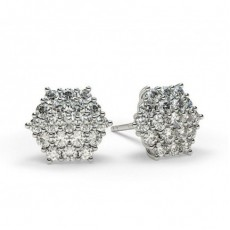 White Gold Round Diamond Cluster Earring