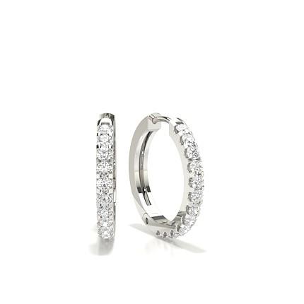 White Gold Round Diamond Hoop Earring