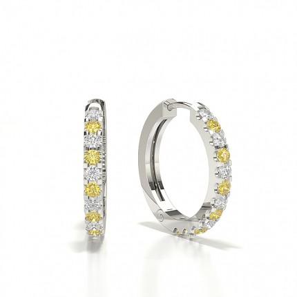 White Gold Round Yellow Diamond Hoop Earring