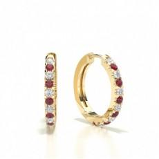 Round Yellow Gold Gemstone Diamond Earrings