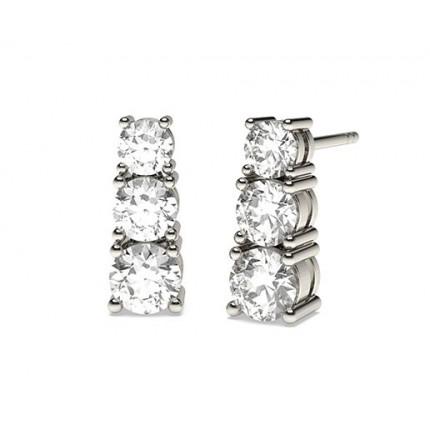 White Gold Round Diamond Journey Earring