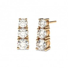 Round Rose Gold Drop Diamond Earrings