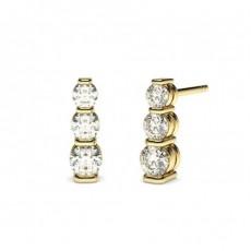 Round Yellow Gold Drop Diamond Earrings