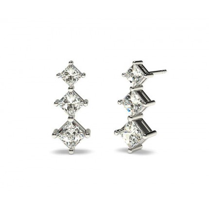 White Gold Princess Diamond Journey Earring