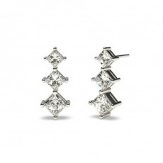 Princess Silver Drop Diamond Earrings