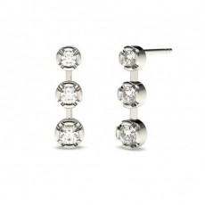 White Gold Round Diamond Journey Earring
