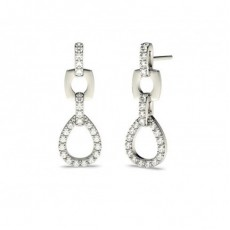 White Gold Round Diamond Drop Earrings