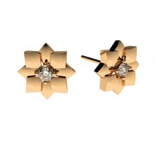 0.15ct. 4 Prong Setting Round Diamond Delicate Earring