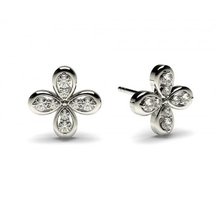 0.15ct. 3 Prong Setting Round Diamond designer Earring