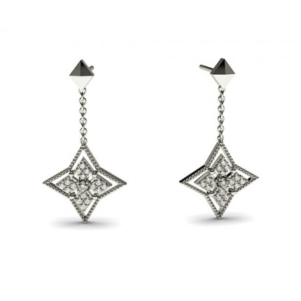 0.15ct. 4 Prong & Pave Setting Round Diamond Delicate Earring