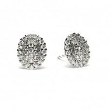 Boucles d'oreilles illusion diamant rond serti pavé 0.70ct