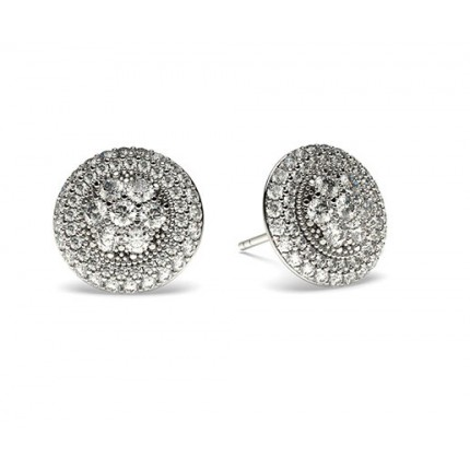 Pave Setting Round Diamond Cluster Earrings